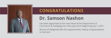 New Appointment: Dr. Samson Madera Nashon, Head of the Department of Curriculum and Pedagogy