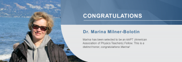 Dr. Marina Milner-Bolotin Selected as an AAPT Fellow