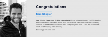 Congratulations to Sam Stiegler, EDCP doctoral candidate and Vanier scholar