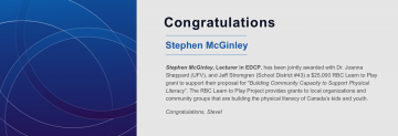 Congratulations to Stephen McGinley