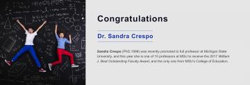 Congratulations to Sandra Crespo, EDCP Alumna