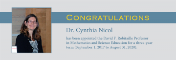 Congratulations to Dr. Cynthia Nicol
