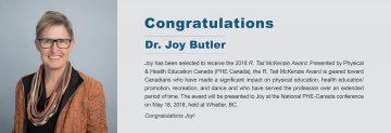 Congratulations to Dr. Joy Butler