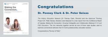 Congratulations to Dr. Penney Clark and Dr. Peter Seixas