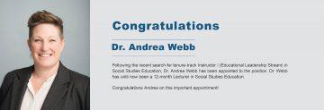 Congratulations to Dr. Andrea Webb