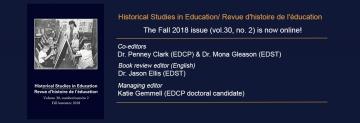Fall 2018 Issue of Historical Studies in Education/Revue d'histoire de l'éducation