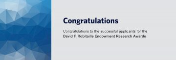 Congratulations to David F. Robitaille Endowment Research Award Successful Applicants