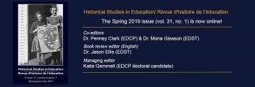 Spring 2019 Issue of Historical Studies in Education/Revue d'histoire de l'éducation