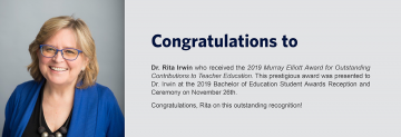 Congratulations to Dr. Rita Irwin – Recipient of the 2019 Murray Elliott Award for Outstanding Contributions to Teacher Education
