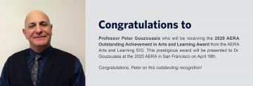 Congratulations to Dr. Peter Gouzouasis – Recipient of the 2020 AERA Outstanding Achievement in Arts and Learning Award