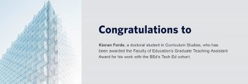 Congratulations to Kieran Forde – Recipient of the 2020 Faculty of Education's Graduate Teaching Assistant Award