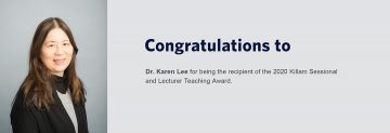 Congratulations to Dr. Karen Lee – Recipient of the 2020 Killam Sessional and Lecturer Teaching Prize