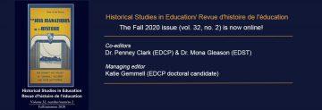 Autumn 2020 Issue of Historical Studies in Education/Revue d'histoire de l'éducation