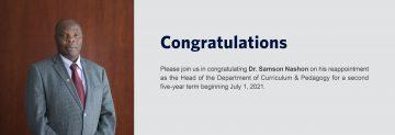 Congratulations to Dr. Samson Nashon